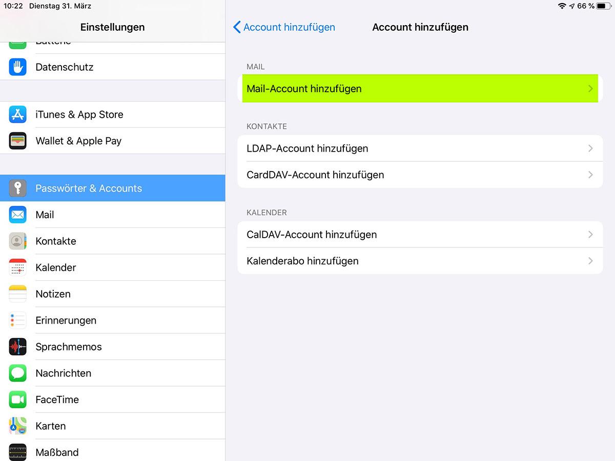 emailkonto auf den ipad einrichten schritt 2