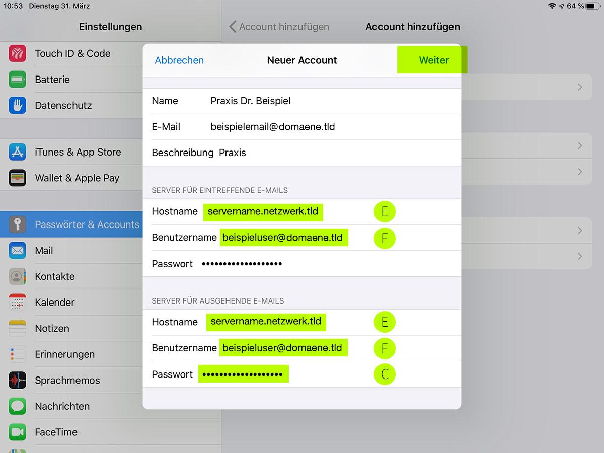 emailkonto auf den ipad einrichten schritt 5