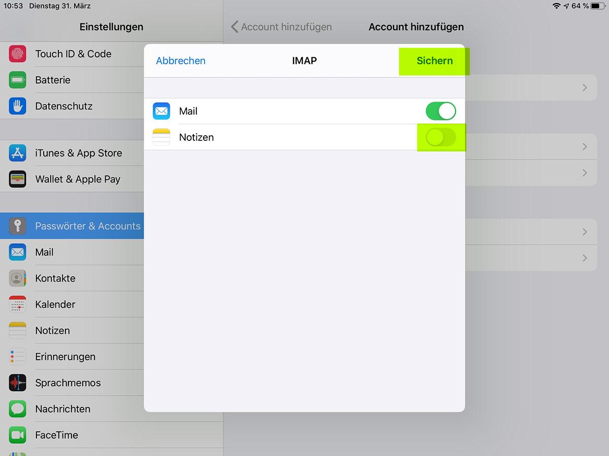 emailkonto auf den ipad einrichten schritt 6